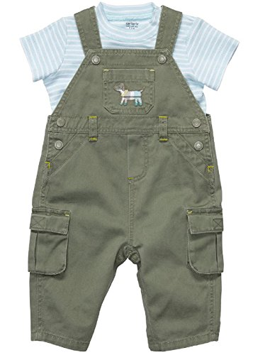 Carter's Baby Boys 2- Piece Overall Set (18 Months, Green/Blue - Set Puppy Overall