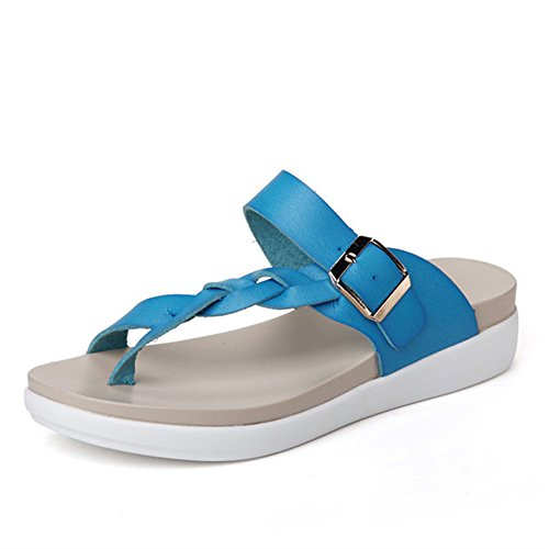 Minetom Mujer Verano Thong Sandals Bohemia Clip de Hebilla Playa Casa Sandalias Planas Tacón Bajo Chanclas Azul