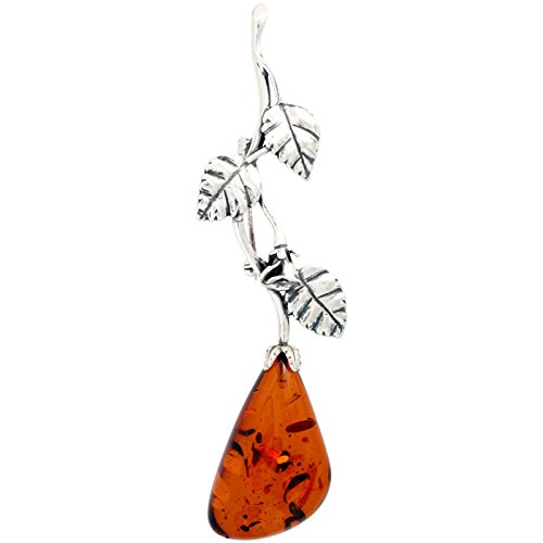 Sterling Silver Vine Russian Baltic Amber Brooch Pin, 3 1/2 inch long
