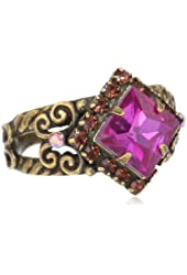 """Sorrelli """"Pink Orchid"""" Pointed Square Center Crystal Gold-Tone Adjustable Ring"""