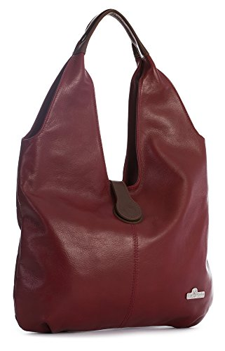 Shoulder Large Trim Bag Boho Zoe Hobo Deep Brown Soft Tote Liatalia Shopper Italian Genuine Leather Red IZczTx