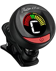 Clip on guitar tuner - with batteries included for guitar, violin, bass, viola, ukulele tuner. Professional grade tuner - ROWIN LT-21 (black)