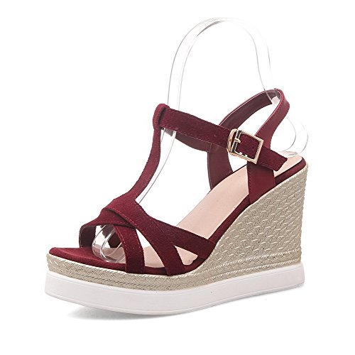 AmoonyFashion Womens Buckle High Heels Cow Imitated Suede Solid Open Toe Sandals Claret orFEHeEn