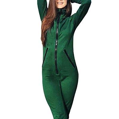 dumanfs Womens Fashion Solid Zipper Slim Fit Long Sleeve Sportswear Rompers Jumpsuit Set