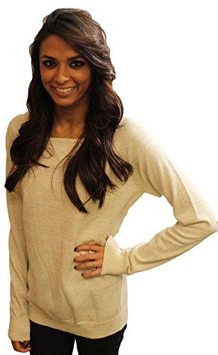 Rue21 Long Sleeve Metallic Thread Dorito Sweater Off-white (XL)