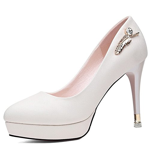 Women'S Shoes Platform With Spring High Jqdyl High heels Female Single Waterproof Shoes Shallow Round Mouth New Shoes Heels White gwzHqpF