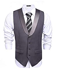 COOFANDY Men's Business Suit Vest Slim Fit Casual Skinny Wedding Dress Waistcoat