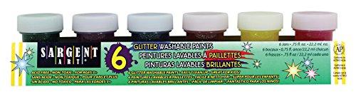 (Sargent Art 17-5415 6 Jar Washable Glitter Paint Set 3/4 Ounce, 6 Sparkling Colors)