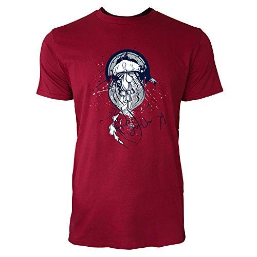 SINUS ART ® Qualle im Street Style Herren T-Shirts in Independence Rot Fun Shirt mit tollen Aufdruck