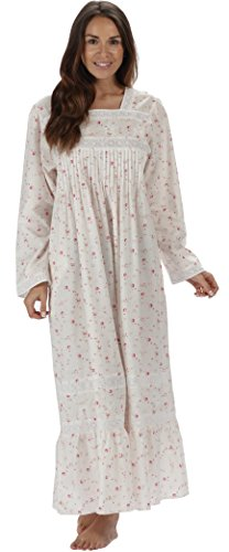 The 1 for U Cotton Nightgown with Pockets - White (XL, Vintage Rose) ()
