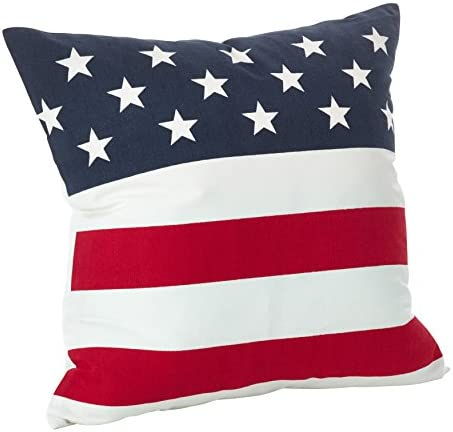 SARO LIFESTYLE Star Spangled Collection American Flag Design Cotton Down Filled Throw Pillow, 20 , Multi