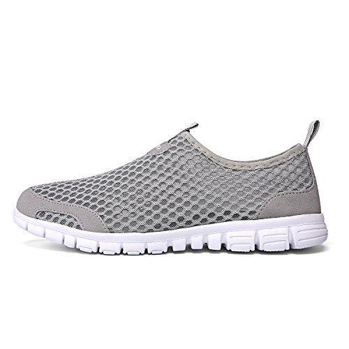 Leaderica Mens Lichtgewicht Aqua Water Schoenen Strand Sneakers Grijs