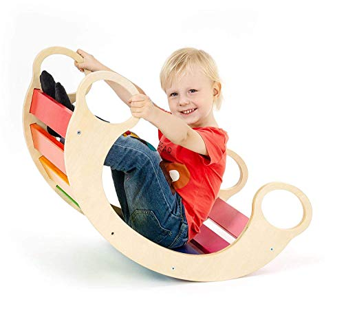 Wooden Rocker - CASSARO Waldorf Wooden Rocking Play (Rainbow)