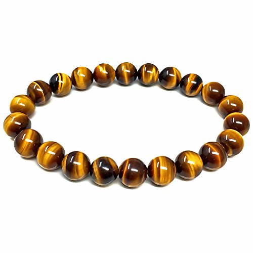 Bracelets for Women Men AAA Grade Natural Tiger Eye Round Beads Semi Precious Gemstone for Crystal Stretch Beaded Bracelet 7.5
