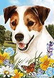 """Cheap Jack Russell Terrier Dog – Tamara Burnett Summer Flowers Outdoor Garden Flag 12"""" x 17"""""""