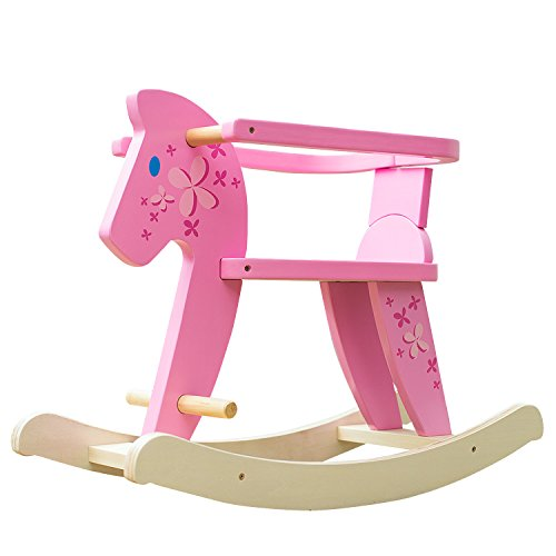 Labebe Child Rocking Horse, Wooden Rocking Horse Toy, Pink Rocking Horse for kid 1-3 Years, Baby Rocking Horse Set/Kid Rocking Horse Chair/Outdoor Rocking Horse/Rocker/Animal Ride/Rocking - Nursery Plan Toys