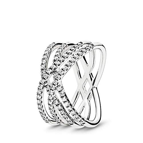 PANDORA Cosmic Lines Ring, Sterling Silver, Clear Cubic Zirconia, Size 6