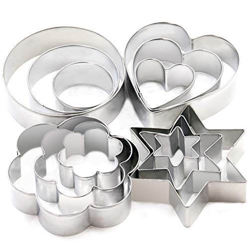 Cookie Cutters Set - Cookie Cutters Mini Geometric Shapes Cookie Cutters, Vegetable Shape Cutters for Kitchen, Baking, Halloween & Christmas,12 Pcs]()