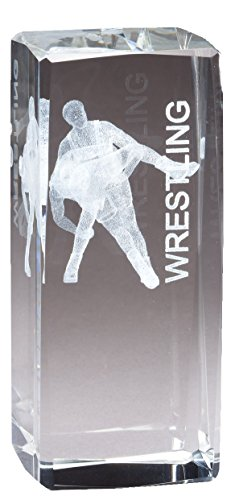 Wrestling Figure Optical Crystal Award Laser Engraved Image Inside by Awards and Gifts R Us