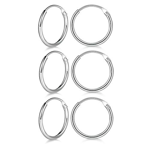 3 Pairs Sterling Silver 10mm Small Hoop Earrings Set Hypoallergenic Endless Cartilage Huggie Earrings Sleeper for Women Men Girls