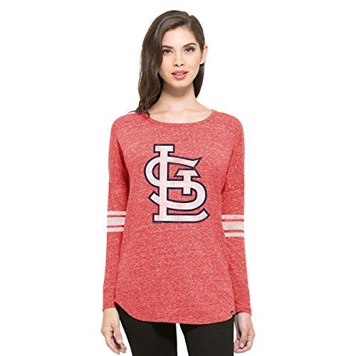 MLB St. Louis Cardinals Women's '47 Neps Long Sleeve Tee, Medium, Cranberry (Gear Cardinals Louis)