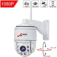 ANRAN PTZ Wireless Surveillance IP Camera 1080P HD Wifi 4×Optical Zoom Auto Focus High Speed Dome Home Security System Outdoor Waterproof 355°Pan90°Tilt, Night Vision,Remote View,with 16GB SD Card