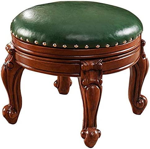 Zhengdaikang Small Foot Stool,Leather Ottoman Upholstered Faux Wooden Round Foot Rest