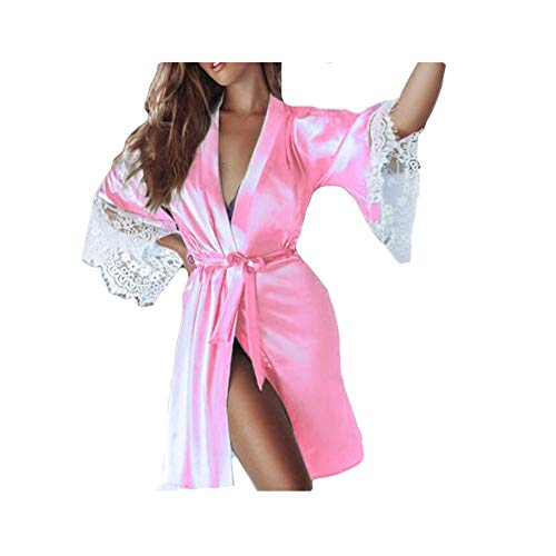 NREALY PJ Women's Sexy Silk Kimono Dressing Babydoll Lace Lingerie Belt Bath Robe Nightwear(XL, Pink)