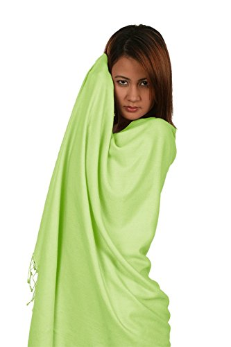 Scarf/Shawl/Wrap/Stole/Pashmina Shawl in solid color from Cashmere Pashmina Group (Regular Size) - Mint Green