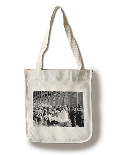 (Lantern Press Fans Buying hot Dogs at Ebbets Field, Brooklyn Dodgers, Baseball - Vintage Photograph (100% Cotton Tote Bag - Reusable))