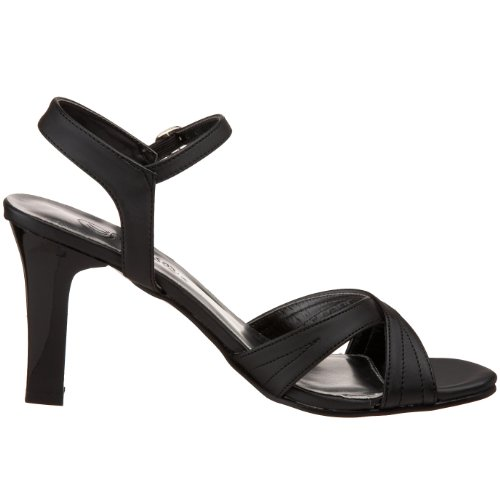 Satin Black Women's Sandal Pleaser Romance 313 xzTc4q