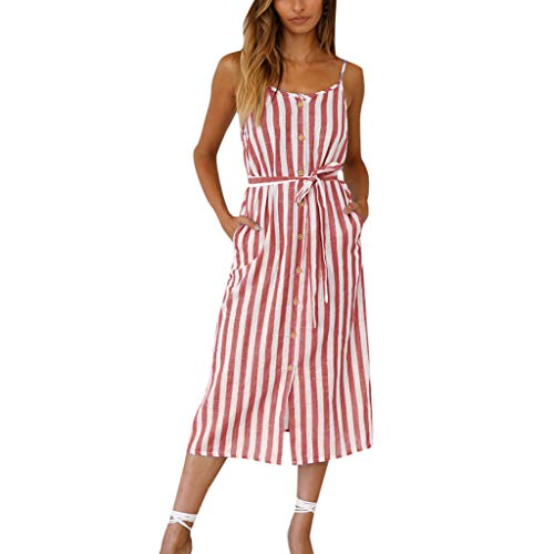- 2019 Women Sleeveless Striped Print Dress Casual Button Down Shift Summer Dresses Beach Midi Dress (Red, L)