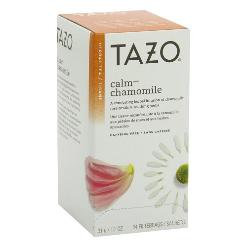 - Tazo Calm Chamomile Enveloped Hot Tea Filterbags Herbal, Caffeine Free, Non GMO, 24 count, Pack of 6