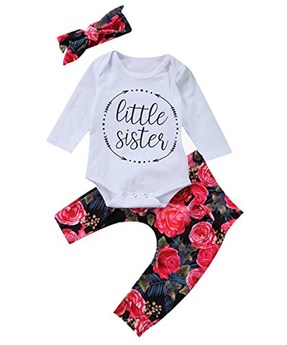 Baby Girls Little Sister Bodysuit Tops Floral Pants Bowknot Headband Outfits Set (0-6 Months)
