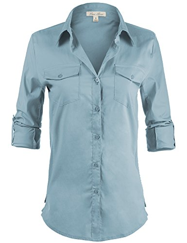 Side Ribbed Collared Stylish Button Down Solid Color Shirts,108-Light Blue,US L