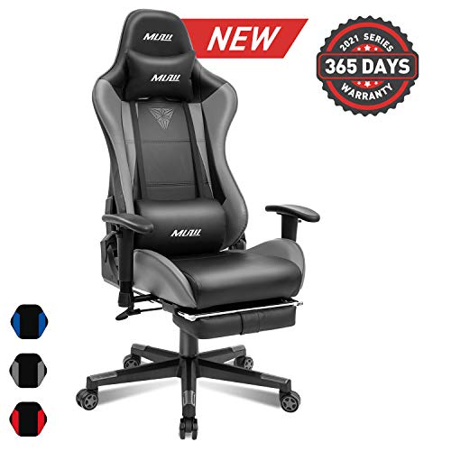 Muzii BIFMA Certified Gaming Chair with Footrest, High-Back PU Leather Office Chair with Headrest and Adjustable Lumbar Support,Ergonomic Computer Swivel Chair for Teens and Adults-Grey Muzii