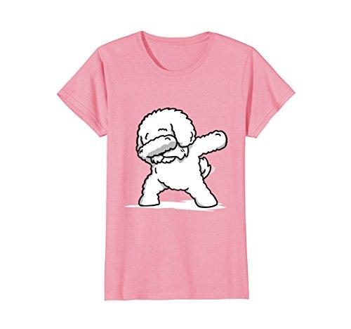 Womens Funny Dabbing Bichon Frise Dog T-Shirt Dab Dance Gift Shirt Small Pink