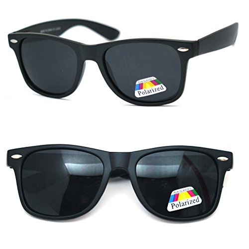 Polarized Men Women Retro Sunglasses Spring Temple Black - Polarized Logo