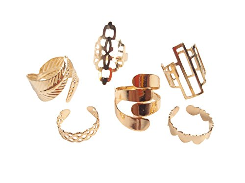 Finger Rings Adjustable (Askana 6pcs Women`s Fashion Vintage Boho Knuckle Nail Midi Ring Set Wide Open Adjustable Style (Gold))
