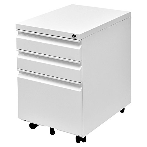 Giantex Rolling Mobile File W/3 Lockable Drawers and Pedestal for Office Study Room Home Steel Storage Cabinet (White)