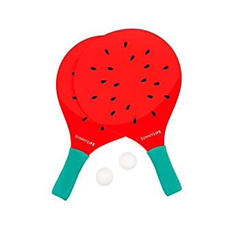 Sunnylife Summertime Ping Pong Table Tennis Beach Paddles - Watermelon Red