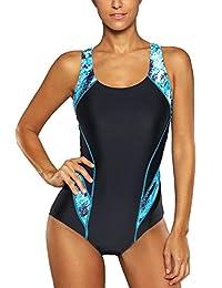 beautyin  vestido de baño de mujer de una pieza atlético de espalda cruzada traje de baño de adelgazamiento