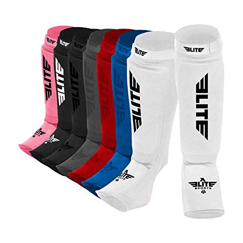 (Elite Sports Protective Kickboxing, MMA, Muay Thai Shin & Instep Guards Leg Pad Training Protective Gear Washable (White, L-XL))