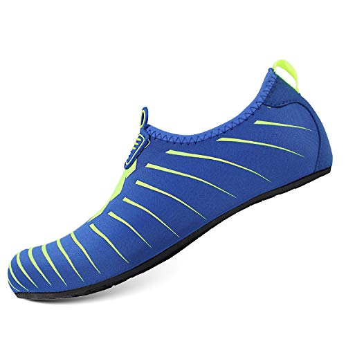 HEETA Water Sports Shoes for Women Men Quick Dry Aqua Socks Swim Barefoot Shoes for Beach Pool Surf Swim Yoga Blue & Green L