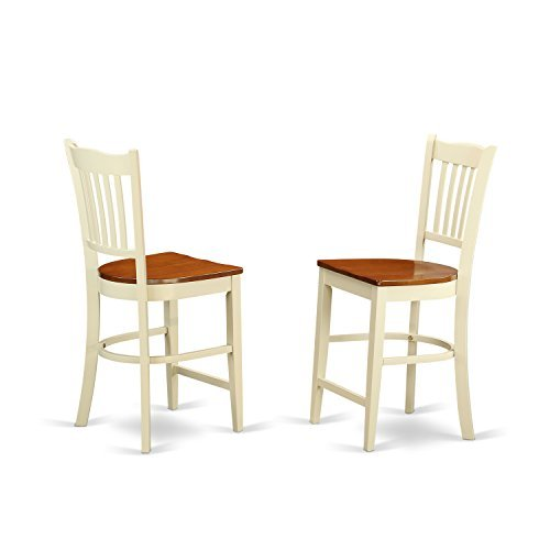 GRS-WHI-W Groton Counter Stools With Wood Seat In Buttermilk and Cherry-Set of 2
