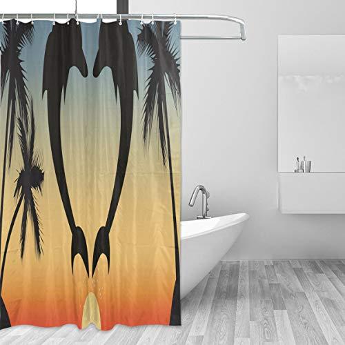Oreayn Shower Curtain 72x72 inches, Sunset Fabric Bath Curtain Bathroom Decor Set with Hooks, Dolphins Love (Love Hook)
