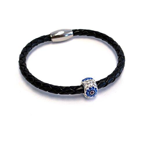 Liza Schwartz Jewelry Evil Eye Premium Leather Bracelet (Black)