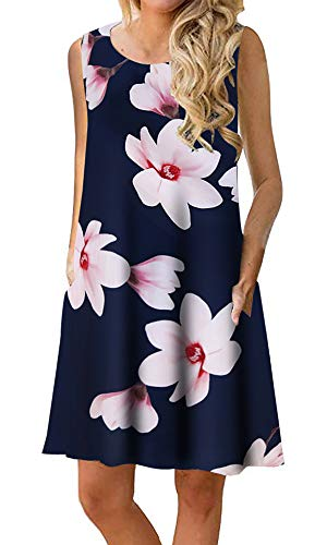 - Silvous Sleeveless Summer Women Dresses Floral Print T-Shirt Dress with Pockets (Lotus XL)