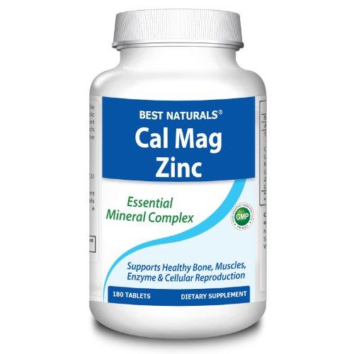 # 1 CAL MAG ZINC par Best Naturals - Complexe de minéraux essentiels - fabriqué dans une usine certifiée GMP et USA Based tiers Testé pour la pureté. Garanti !!