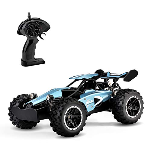 Rc Cars, KINGBOT 2.4 Ghz 1:18 Scale 2WD Remote Control Car Toys 14 Km/H All Terrain Radio Control Off-Road Vehicle with 50M Control & 20 Mins Play Time for Kids Birthday Gifts (3063)